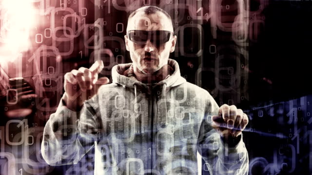 virtual reality computer programmer typing, hacker hacking bank video