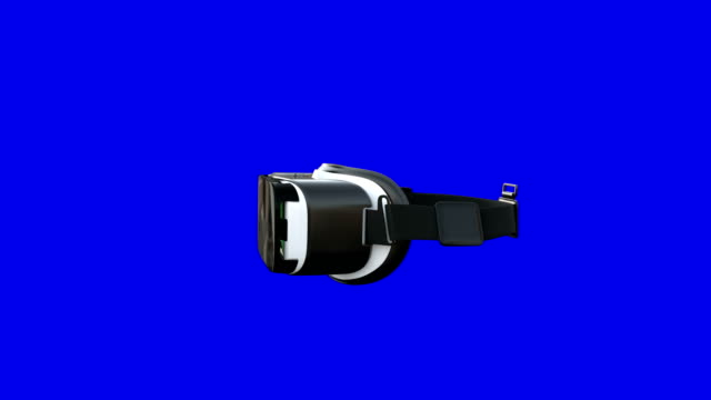 Virtual reality headset turning around on blue background