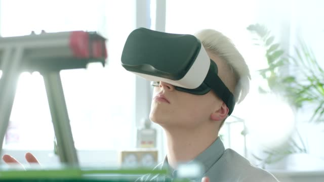 Virtual reality in engeneering. Close up video