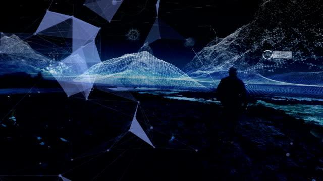 vídeos y material grabado en eventos de stock de entrenamiento de realidad virtual. hombre a lo largo de la costa rocosa. digitales montañas que aparecen - copiar