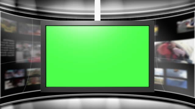 virtual tv studio set with animated main monitor centered - dekor bildbanksvideor och videomaterial från bakom kulisserna