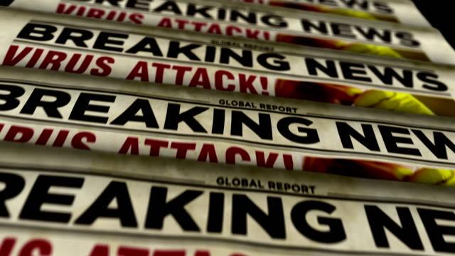 virüs saldırısı son dakika haberleri - gazete matbaası - newspaper stok videoları ve detay görüntü çekimi