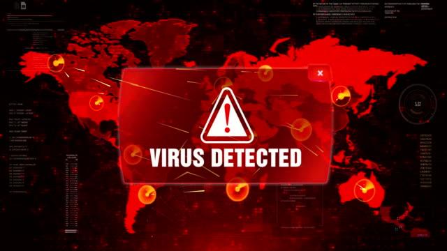 ウイルスは、画面の世界地図のループモーションに警告警告攻撃を検出しました。 - なりすまし犯罪点の映像素材/bロール
