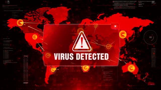 ウイルスは、画面の世界地図上の警告警告攻撃を検出しました。 - なりすまし犯罪点の映像素材/bロール