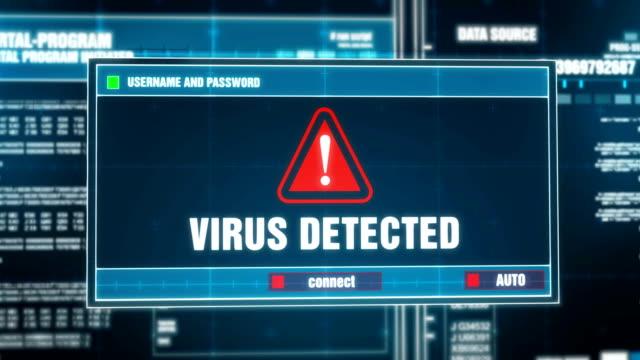 ログインとパスワードを入力後、ウイルス検出でデジタル システム セキュリティの警告エラー メッセージ コンピューターの画面上に警告通知が生成されます。サイバー犯罪、コンピュータ - ウイルス対策ソフト点の映像素材/bロール