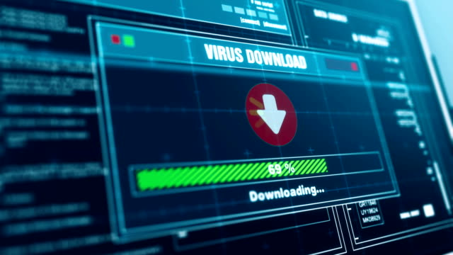 virus downloading progress warning message  system infected alert on screen , computer screen entering system login and password logging into showing progress granted system security. - spyware video stock e b–roll