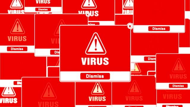 vídeos de stock e filmes b-roll de virus pop alert warning error pop-up notification box on screen. - vírus informático