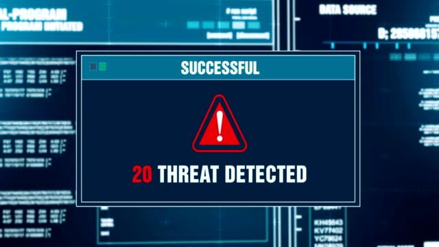 ウイルス スキャンの進行状況警告メッセージの脅威は、システムのログインとパスワードを入力、コンピューターの画面上のアラートを検出しました。システム セキュリティ、サイバー犯� - ウイルス対策ソフト点の映像素材/bロール