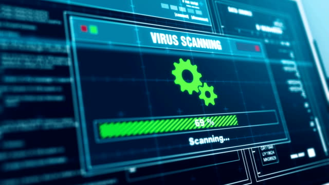 virus scanning progress warning message threat detected alert on screen , computer screen entering system login and password logging into showing progress granted system security. - spyware video stock e b–roll