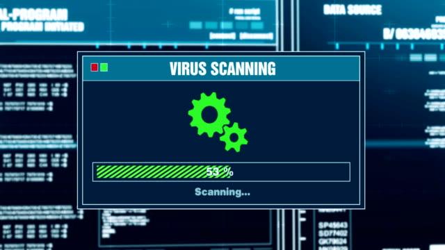 messaggio di avviso sullo stato di analisi dei virus che si è protetti avviso sullo schermo - fragilità video stock e b–roll