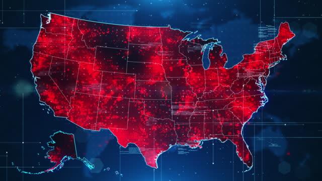 virus spread pandemic in usa - mapa filmów i materiałów b-roll