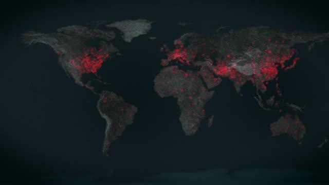 vídeos de stock, filmes e b-roll de vírus se espalha pelo mundo- a - dispersa