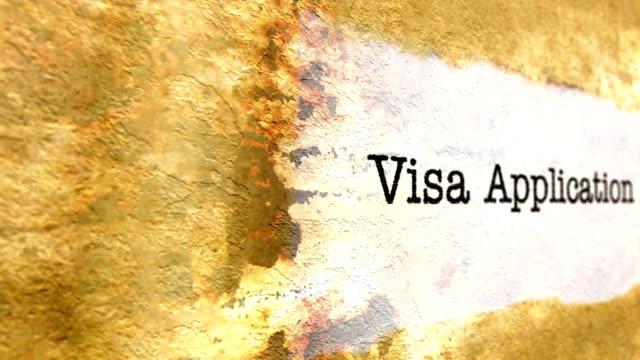 Visa application grunge concept Visa application grunge concept schengen agreement stock videos & royalty-free footage