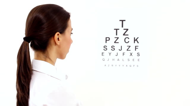 Vision control Beautiful young woman covering  her eye with hand in front of a eye chart. eye chart stock videos & royalty-free footage