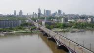 istock Vistula river with tremendous bridge. Drone point of view 1297046061