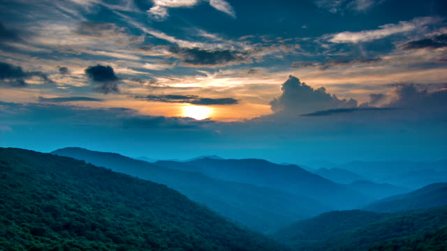 Vivid Blue Ridge Mountain Sunset at Craggy Gardens video