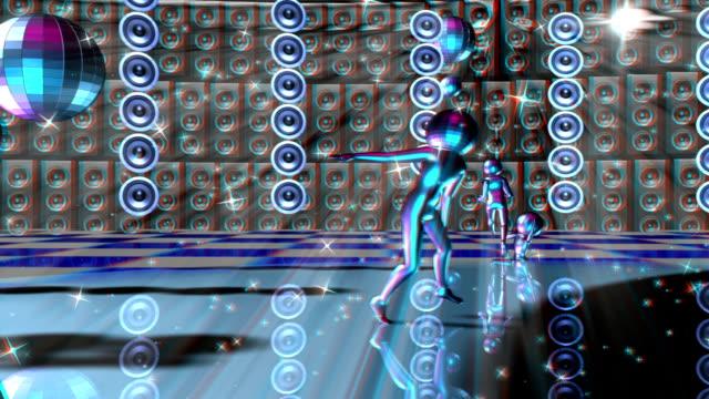 vídeos de stock, filmes e b-roll de vj, pessoas dançando em um brilhante plano. animação, estereoscópicas, anaglífica - dance music