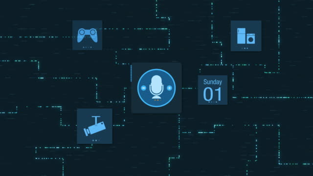 voice assistant and home automation - assistente virtuale video stock e b–roll
