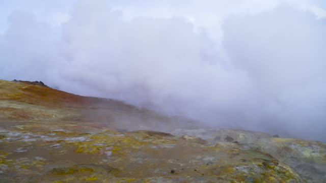 Volcanic activity, Earth Geothermal area , fumaroles volcanic boiling mud pots, Iceland.