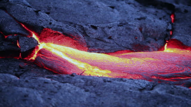 Volcanic lava flowing video