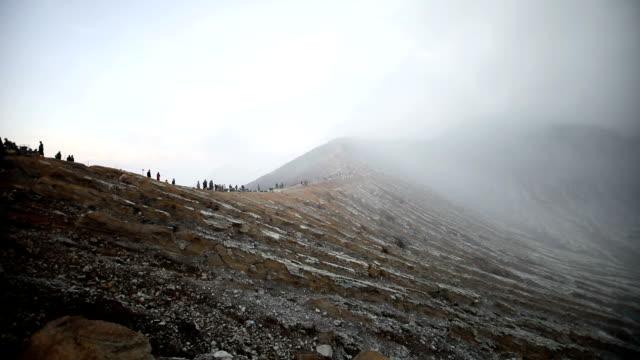 Volcanic Mountain with Smoke from Sulfur, volcano Ijen on Java video