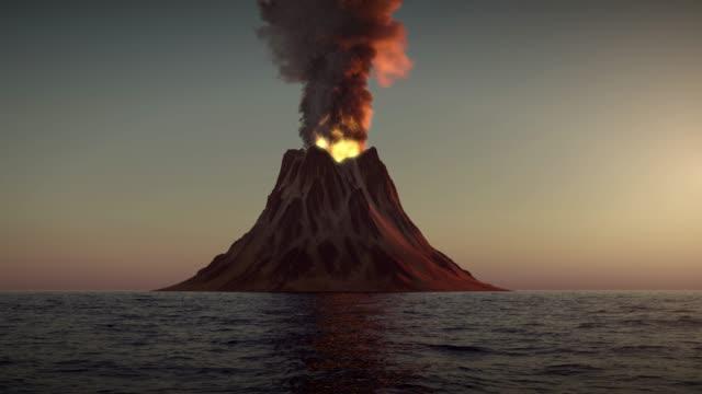 Volcano eruption on sunset