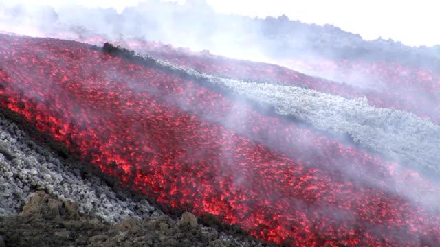 Volcano Etna lava flow video