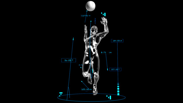 3d volleyball attack man with technical data - volleyball stock videos and b-roll footage