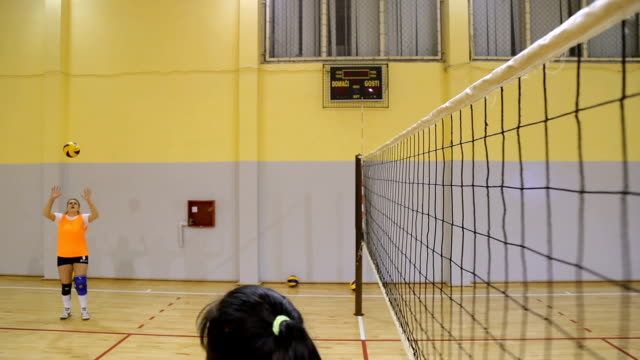 Volleyball attack Young women playing volleyball indoors,jump stills,point of view volleyball sport stock videos & royalty-free footage