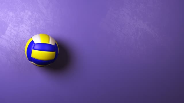 Volleyball Ball Rotating on Blue Violet Background with Copyspace Volleyball Ball Rotating on Blue Violet Background with Copyspace, 3D Seamless Looping Animation volleyball ball stock videos & royalty-free footage