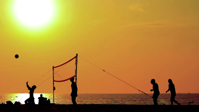 Volleyball silhouette Volleyball silhouette beach volleyball stock videos & royalty-free footage