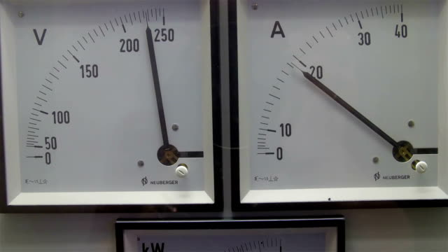 A Volt Ampere and Kilowatt reader on the wall video