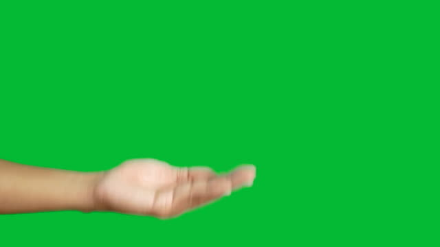 4K. volunteer hand giving red heart on the other hand for donation  isolated on chroma key green screen