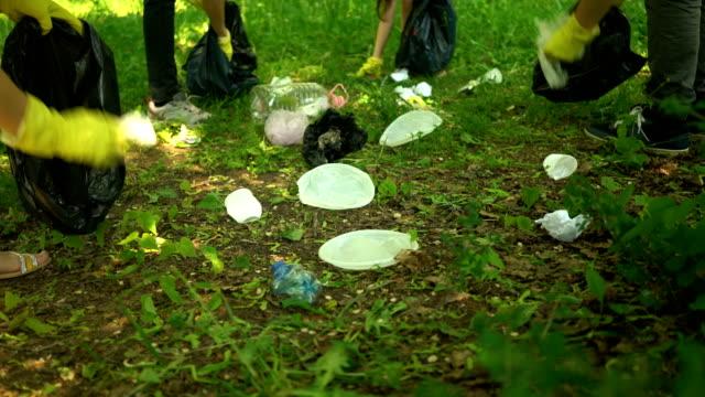 ボランティアは、夏の公園でプラスチックゴミを清掃します。エコロジーの概念。 ビデオ