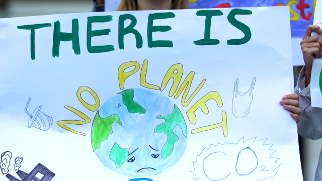 volunteers chanting slogans go green, against deforestation, air pollution - clima video stock e b–roll