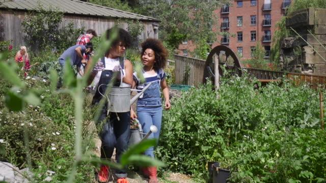 Volunteers Walking Through Farm Watering Plants