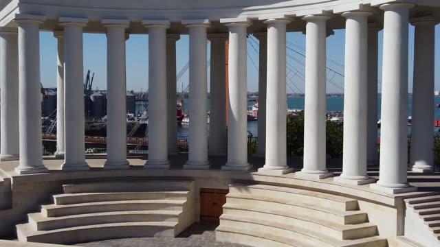 vorontsov colonnade Odessa Ukraine vorontsov colonnade Odessa Ukraine drone footage neoclassical architecture stock videos & royalty-free footage