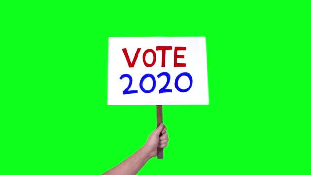 投票 2020 標誌 舉行 綠屏 3 鏡頭 - joe biden 個影片檔及 b 捲影像