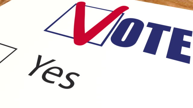 Vote against - marks tick in ballot vote, ballot voting and elections animation