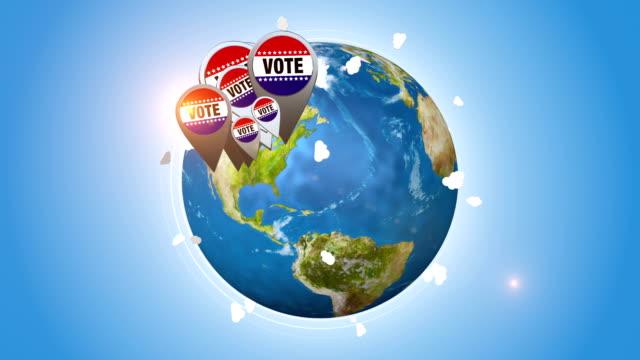 Vote Badges On Orbiting Blue Globe video