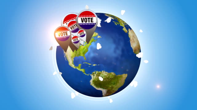 Vote Badges On Orbiting Globe video