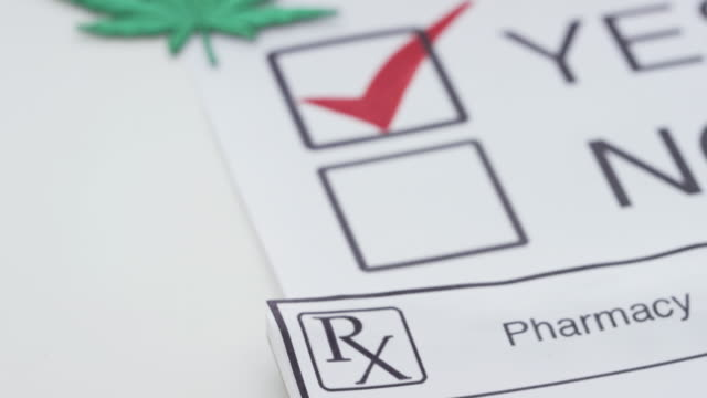 Vote Yes for Medical Marijuana Cannabis drug in a form of buds and pills is laying on a metal dish, some of it tucked into a pill bottle. There is a voting ballot marked as 'Yes'. hashish stock videos & royalty-free footage