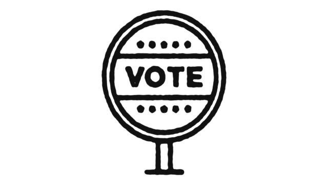 Voting Icon Animation Footage & Alpha Channel Voting outline icon animation footage/video. Hand drawn like symbol animated with motion graphic, can be used as loop item, has alpha channel and it's at 4K video resolution. president stock videos & royalty-free footage