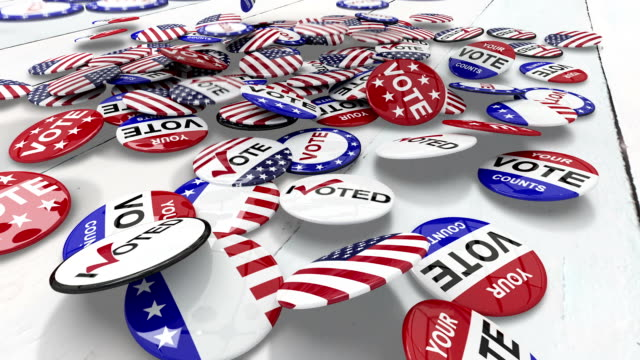 Voting pins dropping on the floor Voting pins dropping on the floor on white background vote stock videos & royalty-free footage
