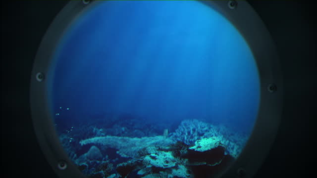 Voyage under the sea Computer generated scene of an underwater environment viewed through a Porthole , looping seamlessly deep stock videos & royalty-free footage