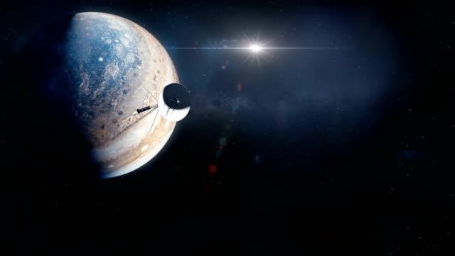 voyager probe leaving jupiter - badawczy statek kosmiczny filmów i materiałów b-roll