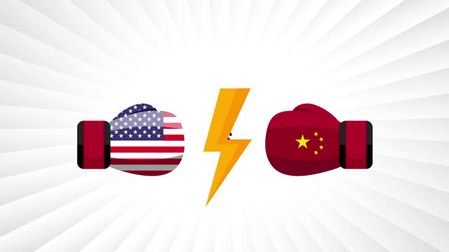 USA vs China. Concept of trade war, fight, sport match or war between america and china. Vector illustration. USA vs China. Concept of trade war, fight, sport match or war between america and china. Vector illustration. international match stock videos & royalty-free footage