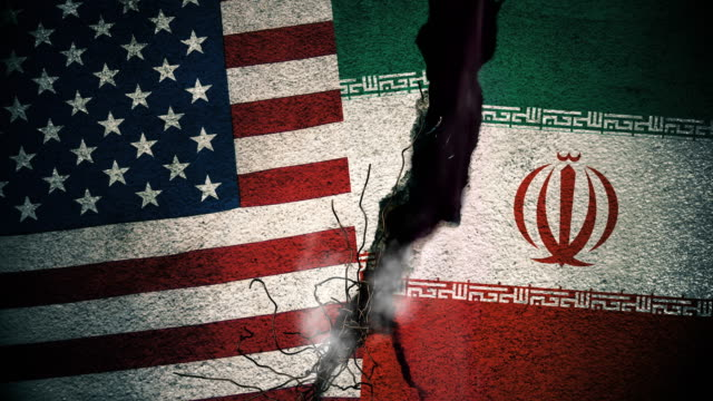 USA vs Iran Flags on Cracked Wall video