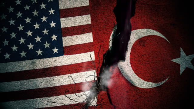 USA vs Turkey Flags on Cracked Wall video