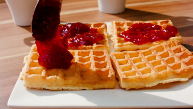 Waffles for dessert topped with jam video